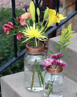 Shiny copper frog / flower organizer lids for regular and wide mouth Mason jars with flowers