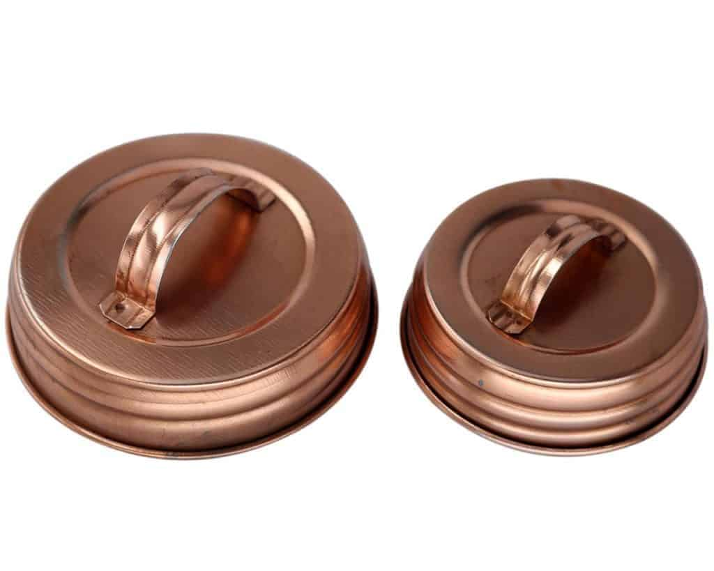 Shiny copper handle / canister lids for regular and wide mouth Mason jars