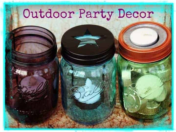 Outdoor Party Decor candle holder lids