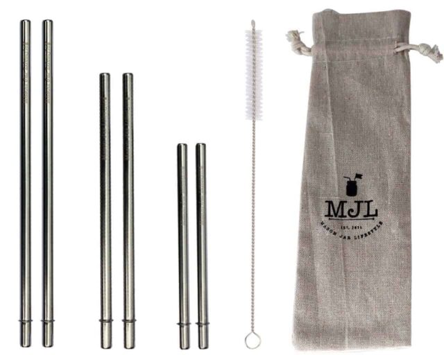 Combination pack of safer rounded end stainless steel metal reusable straws. 2 short, 2 medium, 2 long straws + straw cleaner + cloth storage bag