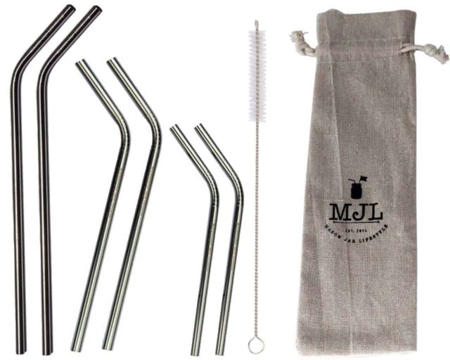 Combination pack of thin bent stainless steel metal reusable straws. 2 short, 2 medium, 2 long straws + straw cleaner + cloth storage bag