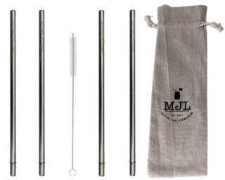 "Extra long safer stainless steel metal reusable straws for half gallon 64oz Mason jars. 30cm (almost 12"") long. 4 pack + straw cleaner + cloth storage bag"