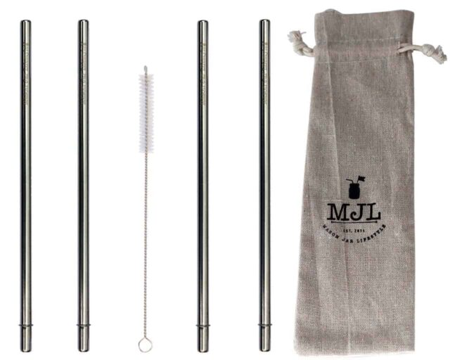 """Extra long safer stainless steel metal reusable straws for half gallon 64oz Mason jars. 30cm (almost 12"""") long. 4 pack + straw cleaner + cloth storage bag"""