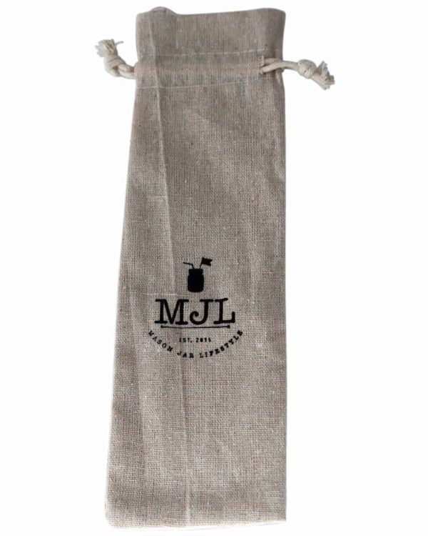Cloth storage bag for reusable straws with drawstring