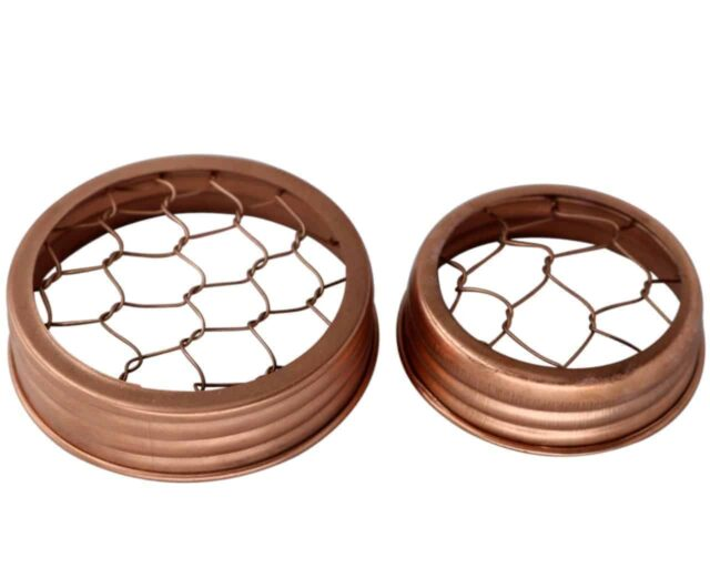 Shiny copper frog / flower organizer lids with chicken wire for regular and wide mouth Mason jars