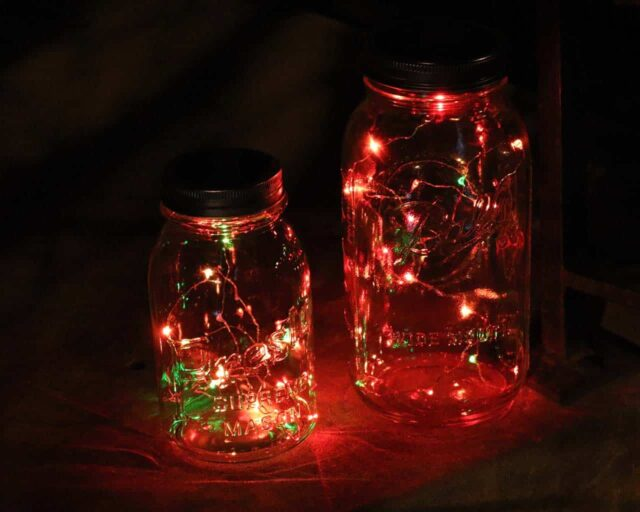 Solar string light lids with 20 RGB (Red, green, blue) LED lights on regular mouth Presto quart jar and wide mouth Ball half gallon jar