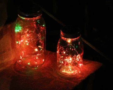 Mason jar solar string light lid with 20 multi color red, green, blue LEDs for regular or wide mouth