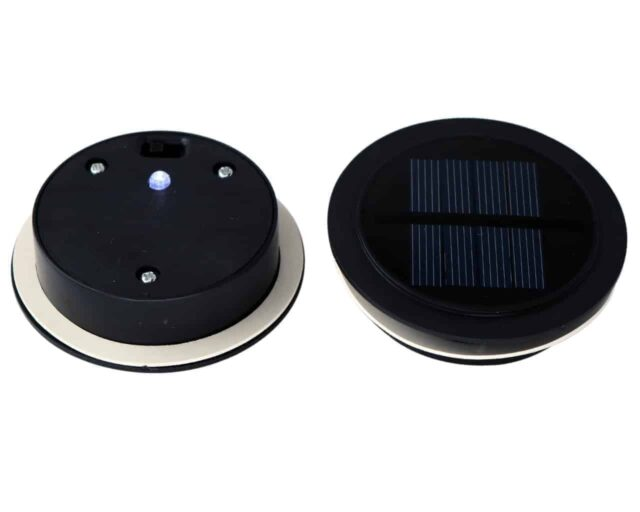 Solar light lids with single bright white LED for regular mouth Mason jars top and bottom