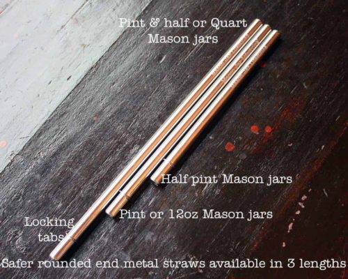 Safer rounded end stainless steel metal reusable straws in three lengths