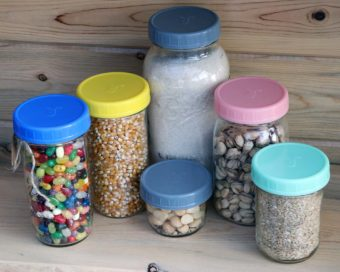 mason-jar-lifestyle-five-colors-plastic-storage-lid-platinum-silicone-liner-half-pint-quart-gallon-nuts-popcorn-jelly-beans-rice