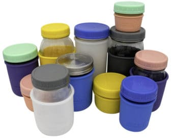 Mason Jar Lifestyle Leak proof plastic storage lids and silicone koozies on regular mouth 4oz, 8oz, 16oz, 32oz half pint quart Mason jars 5 colors