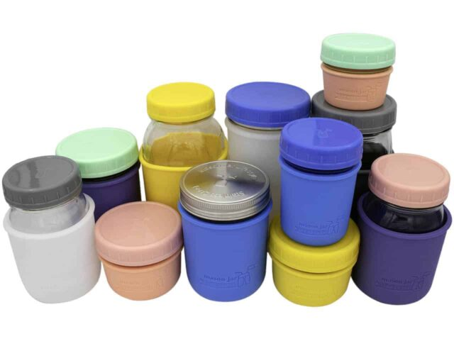 Mason Jar Lifestyle Leak proof plastic storage lids and silicone jackets on regular mouth 4oz, 8oz, 16oz, 32oz half pint quart Mason jars 5 colors
