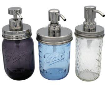 mason-jar-lifestyle-rust-proof-soap-lotion-pump-dispenser-lid-kit-mirror-chrome-2-4-5-regular-wide-mouth-pint-16oz-12oz-ball-mason-jars