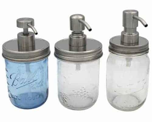 mason-jar-lifestyle-rust-proof-soap-lotion-pump-dispenser-lid-kit-satin-brushed-2-4-5-regular-wide-mouth-pint-16oz-ball-kerr-bernardin-mason-jars