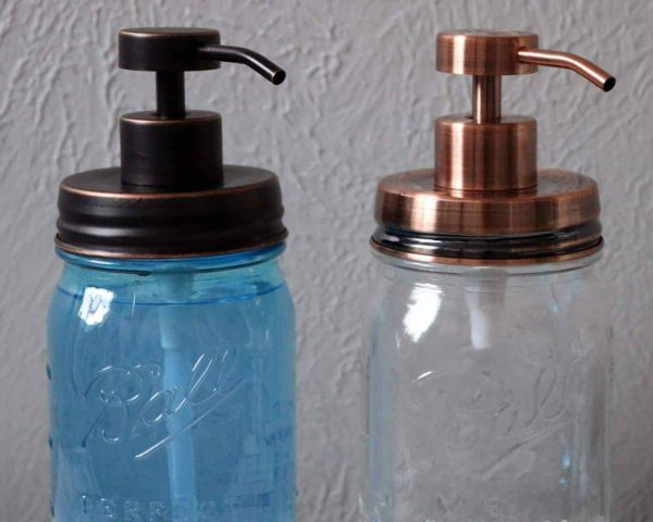 Vintage copper and oil rubbed bronze soap pump dispenser lid kits on regular mouth Ball Mason jars