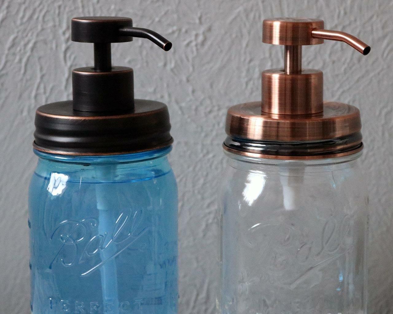 6edcd2cb19f Vintage copper and oil rubbed bronze soap pump dispenser lid kits on regular  mouth Ball Mason
