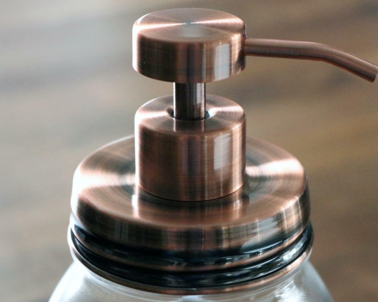 Vintage Copper Soap Pump Lid Kit For Regular Mouth Mason Jars