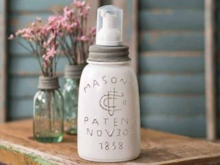 Midget pint Mason jar foaming soap dispenser