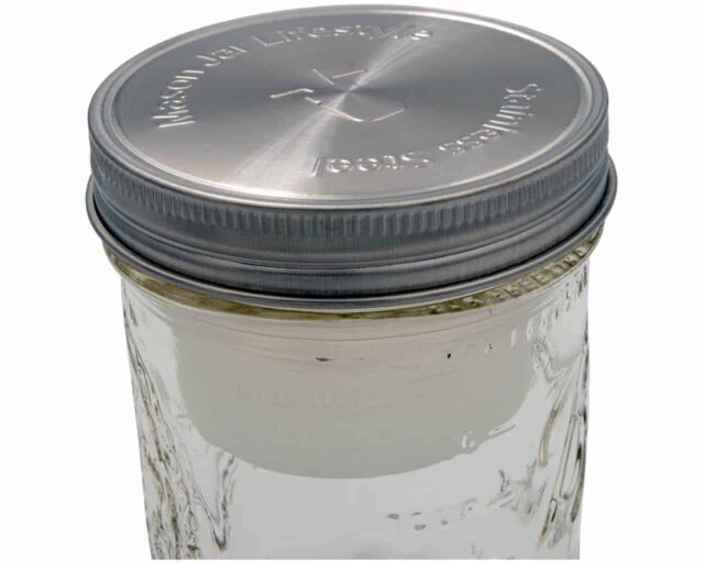 Frost silicone divider cup for salad or dip with stainless steel lid in wide mouth Mason jar