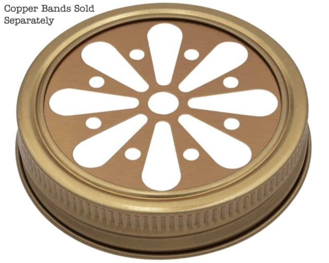 Mason Jar Lifestyle Copper daisy cutout lid and band for regular mouth Mason jars