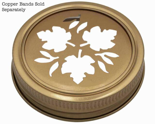 Mason Jar Lifestyle Copper leaf cutout lid and band for regular mouth Mason jars