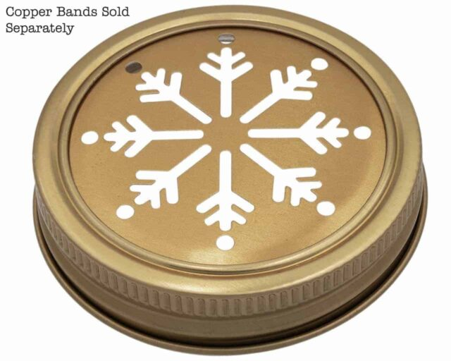 Mason Jar Lifestyle Copper snowflake snow cutout lid and band for regular mouth Mason jars