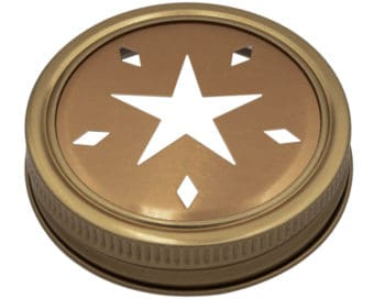 Mason Jar Lifestyle Copper star cutout lid and band for regular mouth Mason jars