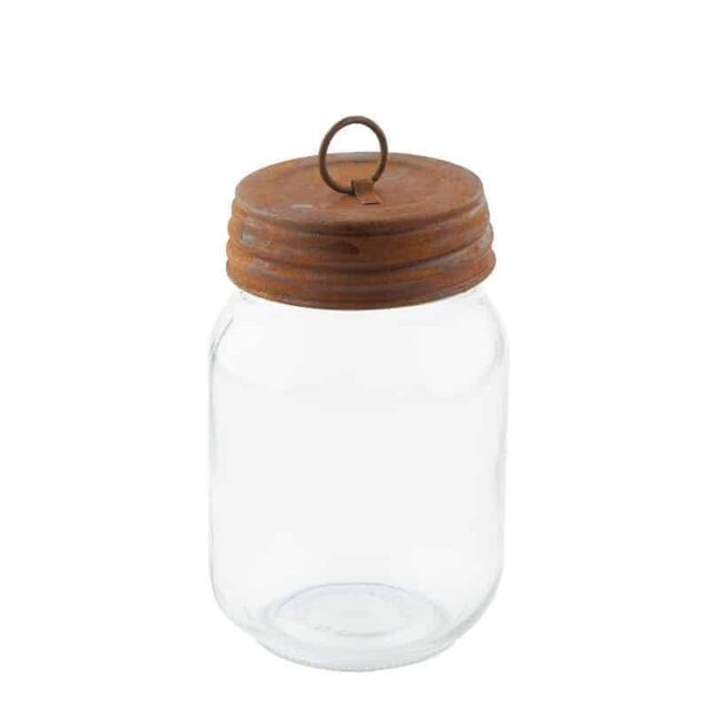 Rusty lid with ring on regular mouth pint Mason jar