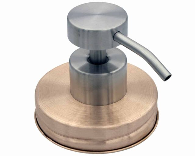 Real copper soap dispenser lid adapter with satin #2 pump