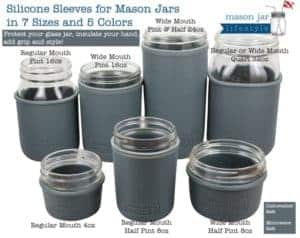 7 sizes of Mason Jars with silicone sleeves