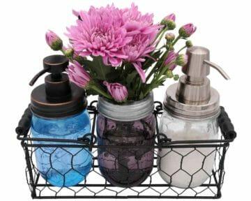 three-3-jar-caddy-regular-wide-mouth-pint-mason-jars-black-wood-handles-chicken-wire-frog-flower-lid-desk-organizer-soap-lotion-dispenser-pumps