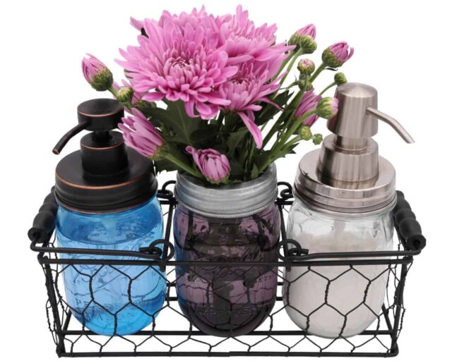 three-3-jar-caddy-regular-wide-mouth-pint-mason-jars-black-wood-handles-chicken-wire-frog-flower-lid-desk-organizer-soap-lotion-dispenser-pumps