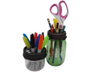 mason-jar-lifestyle-oil-rubbed-bronze-grid-square-frog-flower-lid-regular-wide-mouth-mason-jars-ball-half-pint-markers-pens-desk-organizer