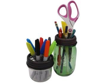 mason-jar-lifestyle-oil-rubbed-bronze-grid-square-frog-flower-lid-regular-wide-mouth-mason-jars-ball-half-pint-markers-pens-desk-organizer