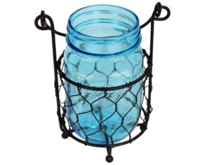 one-jar-caddy-chicken-wire-blue-jar