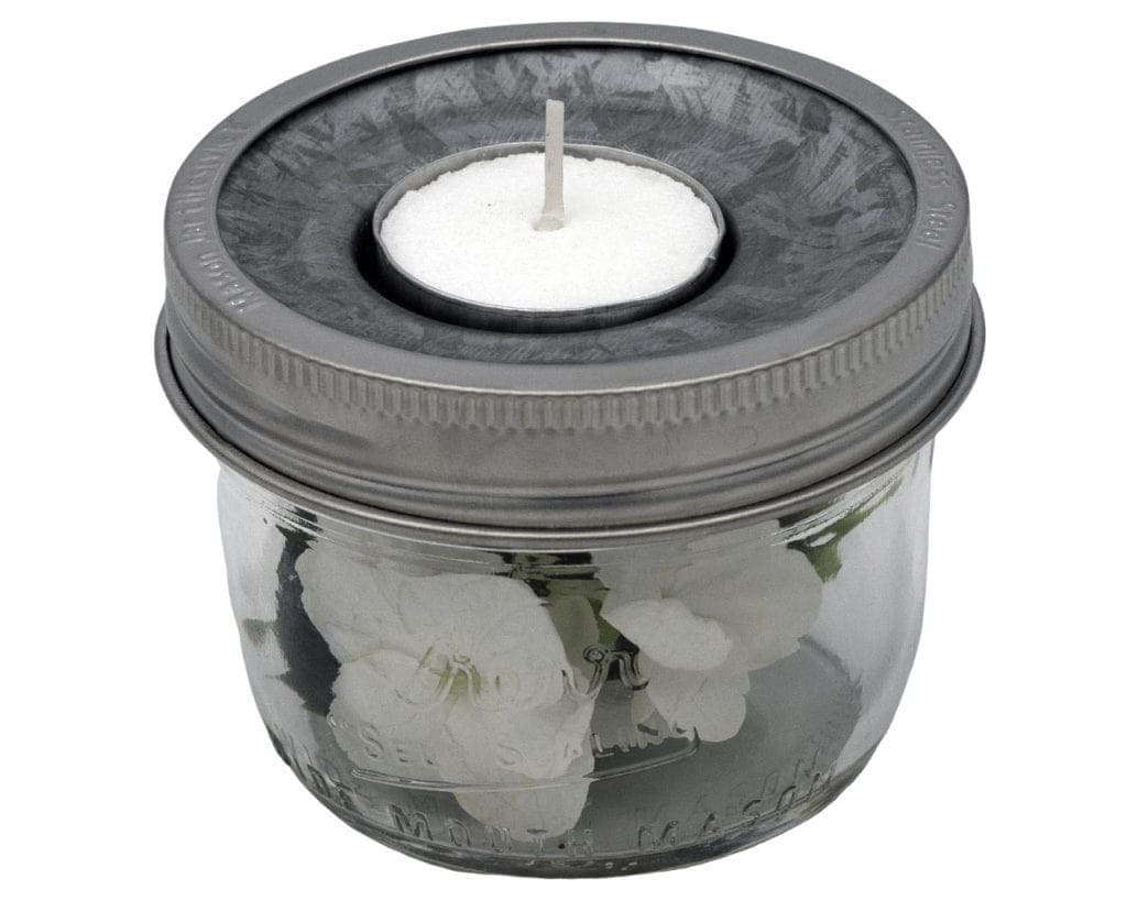 mason-jar-lifestyle-tea-light-holder-lid-insert-wide-mouth-half-pint-kerr-jar-flowers