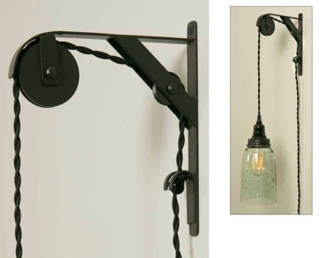 colonial-tin-works-single-sheave-bracket-hang-pendant-light-wall-pulley-primitive-black