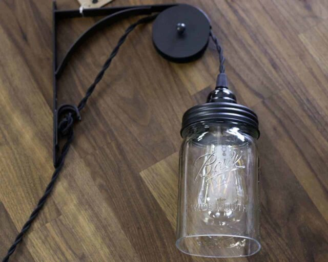 ctw-single-sheave-bracket-hang-pendant-light-wall-pulley-primitive-black-lighting-lid-wide-mouth-ball-open-bottom-jar