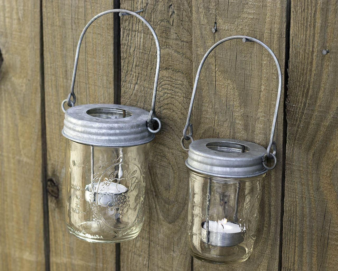 Galvanized Metal Tea Light Candle Holder Lids With Handles For Mason Jars 3 Pack