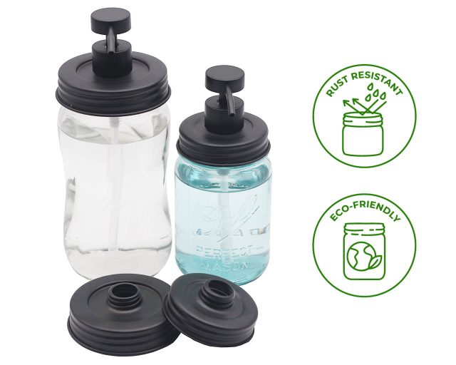 Threaded Matte Charcoal Black Soap Dispenser Lid for Wide and Regular Mouth Mason Jars Style #2