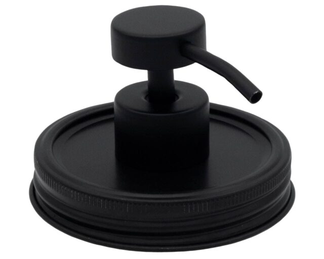 matte-black-chalkboard-aluminum-rust-proof-soap-pump-lid-adapter-kit-#2-wide-mouth-mason-jars