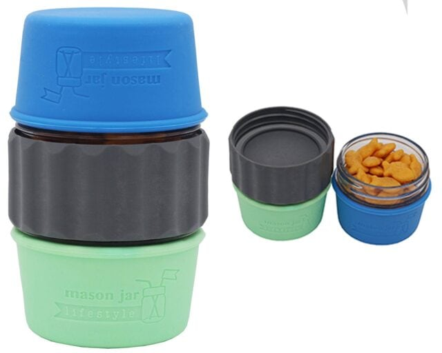 2-in-1-lid-connect-two-regular-mouth-mason-jars-charcoal-gray-silicone-seals-goldfish-crackers-raisins-snack-silicone-sleeves-4oz