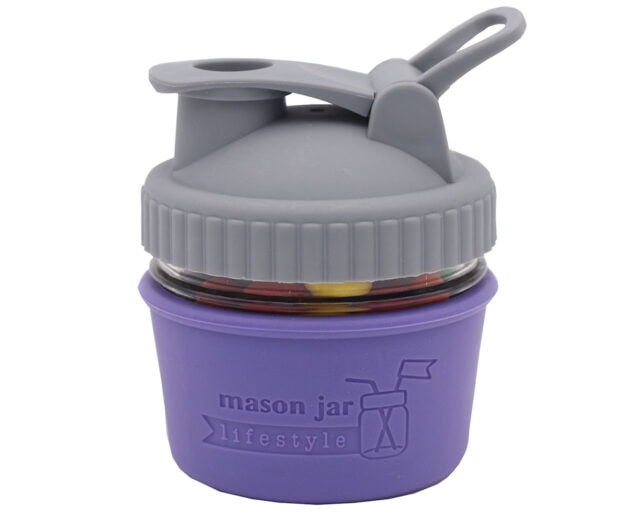 mason-jar-lifestyle-pour-store-carry-handle-lid-gray-regular-mouth-4oz-jar-ultra-violet-sleeve-candy