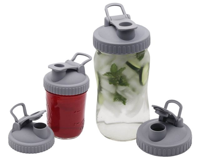 Gray Plastic Pour and Store Lid with Carry Loop for Regular and Wide Mouth Mason Jars