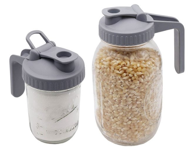 Gray Plastic Pour and Store Pitcher Lid with Handle for Regular and Wide Mouth Mason Jars