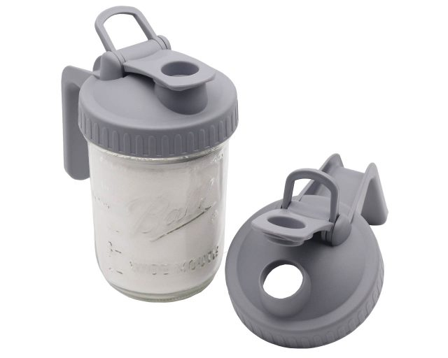 Gray Plastic Pour and Store Pitcher Lid with Handle for Wide Mouth Mason Jars