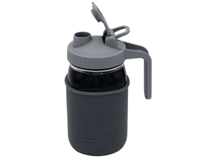 Gray Plastic Pour and Store Pitcher Lid with Handle for Regular Mouth Mason Jars