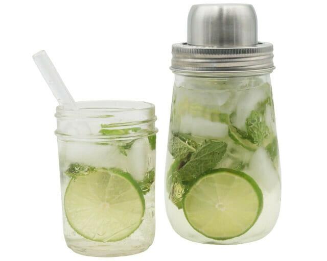 mason-jar-lifestyle-w&p-designs-mason-shaker-cocktail-lid-stainless-steel-band-ball-jar-half-pint-glass-straw-lime-mint