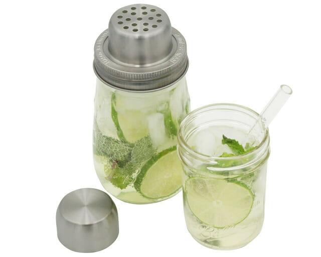 mason-jar-lifestyle-w&p-designs-mason-shaker-cocktail-lid-stainless-steel-band-ball-jar-half-pint-glass-straw-lime-mint-cap-off-top