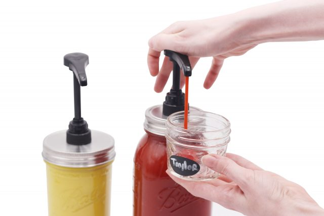 Food Grade Dispense Pump for Regular and Wide Mouth Mason Jars with Matte Brushed Stainless Steel Adapter Lid